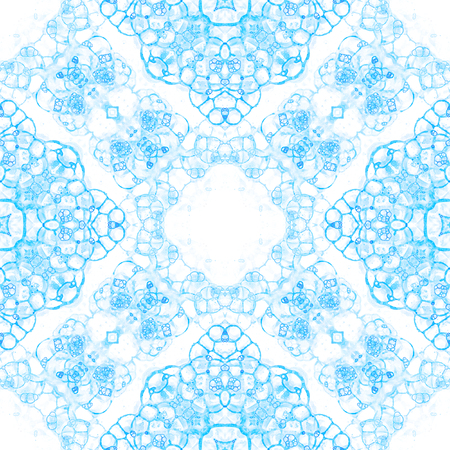 Blue seamless pattern. Amazing delicate soap bubbles. Lace hand drawn textile ornament. Kaleidoscope mandala lingerie print. Emotional abstract  background. Stock Photo
