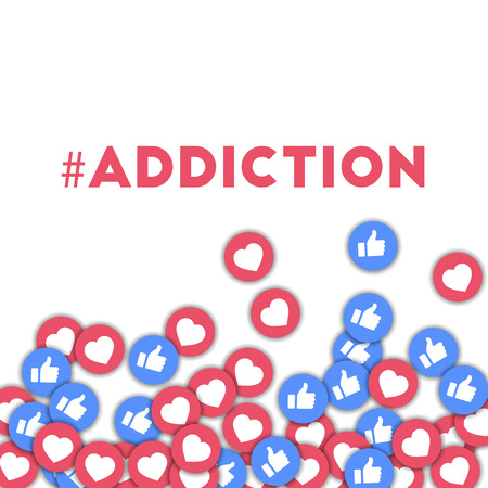 #addiction. Social media icons in abstract shape background with scattered thumbs up and hearts. #addiction concept in attractive vector illustration. Stock Photo