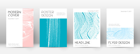 Cover page design template. Minimal brochure layout. Charming trendy abstract cover page. Pink and blue grunge texture background. Popular poster.