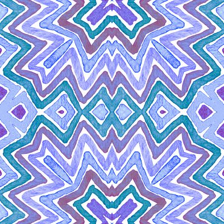 Blue Geometric Watercolor. Curious Seamless Pattern. Hand Drawn Stripes. Brush Texture. Overwhelming Chevron Ornament. Fabric Cloth Swimwear Design Wallpaper Wrapping. Stock fotó