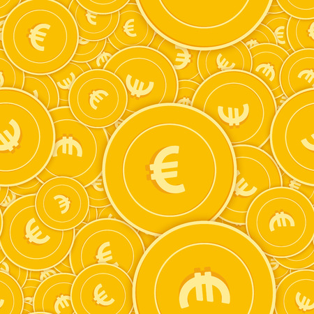 European Union Euro coins seamless pattern. Admirable scattered EUR coins. Big win or success concept. Europe scattered shadow money pattern. Coin tile vector illustration.