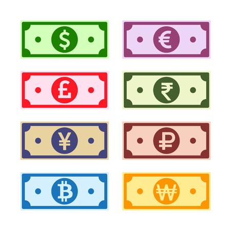 Colección de notas de papel de dinero. Dólar estadounidense, Libra británica, Euro, Yen, Yuan, Won, Rupia, Rublo, Bitcoin. Conjunto de símbolos de moneda mundial. Facturas en efectivo internacionales, imitación de dibujos animados. Ilustración vectorial. Ilustración de vector