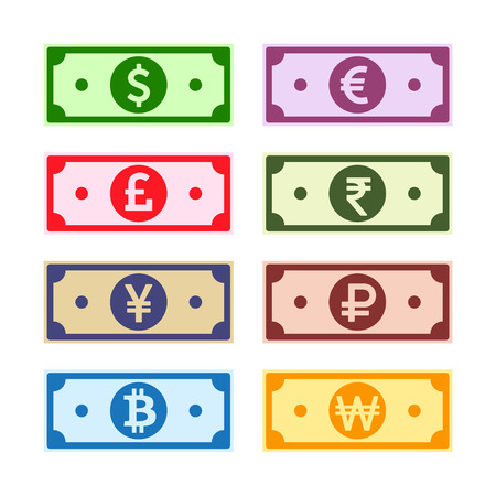 Money paper notes collection. US Dollar, UK Pound, Euro, Yen, Yuan, Won, Rupee, Ruble, Bitcoin. World currency symbols set. International cash bills, cartoon imitation. Vector illustration.