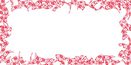 Baisse de la livre sterling britannique. Factures flottantes GBP sur fond blanc. L'argent du Royaume-Uni. Belle illustration vectorielle. Concept de jackpot, de richesse ou de succès merveilleux. Vecteurs