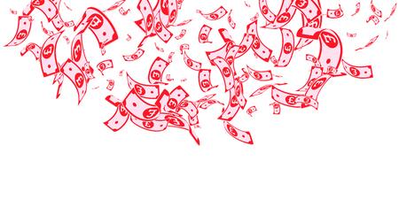 British pound notes falling. Random GBP bills on white background. United Kingdom money. Beautiful vector illustration. Ecstatic jackpot, wealth or success concept.