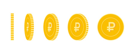 Russian ruble coins set, animation ready. RUB yellow coins rotation. Russia metal money in different positions isolated. Fantastic cartoon vector illustration.