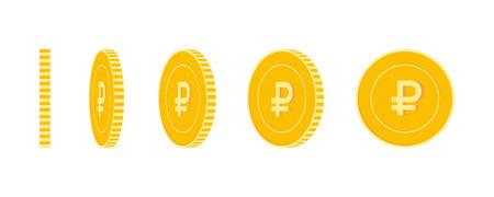 Conjunto de monedas de rublo ruso, listo para la animación. Rotación de monedas amarillas RUB. Rusia metal dinero en diferentes posiciones aisladas. Ilustración de vector de dibujos animados fantástico.