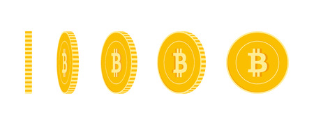 Bitcoin, internet currency coins set, animation ready. BTC yellow coins rotation. Cryptocurrency, digital metal money in different positions isolated. Beautiful cartoon vector illustration.