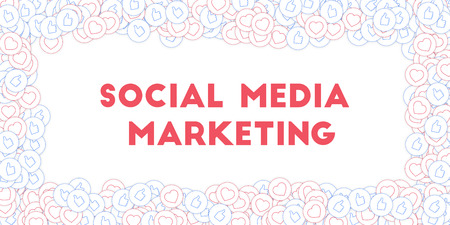 Social media icons. Social media marketing concept. Falling scattered thumbs up hearts. Wide scattered frame elements on white background.
