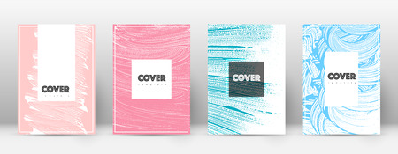 Cover page design template. Hipster brochure layout. Brilliant trendy abstract cover page. Pink and blue grunge texture background. Beauteous poster.