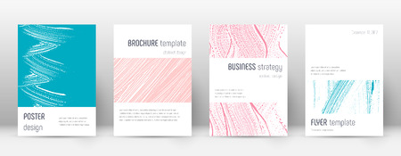 Cover page design template. Minimalistic brochure layout. Classy trendy abstract cover page. Pink and blue grunge texture background. Graceful poster.