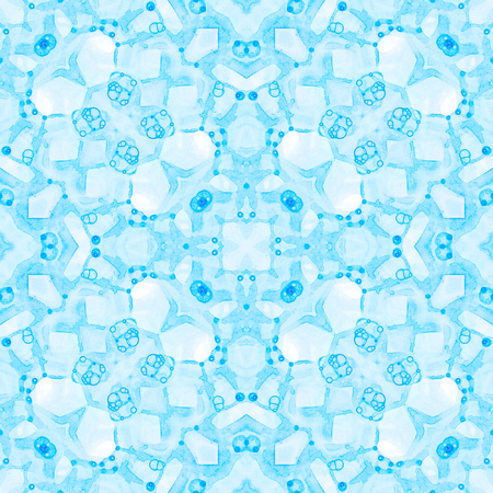 Blue seamless pattern. Artistic delicate soap bubbles. Lace hand drawn textile ornament. Kaleidoscope mandala lingerie print. Delightful abstract watercolor background. Stock Photo