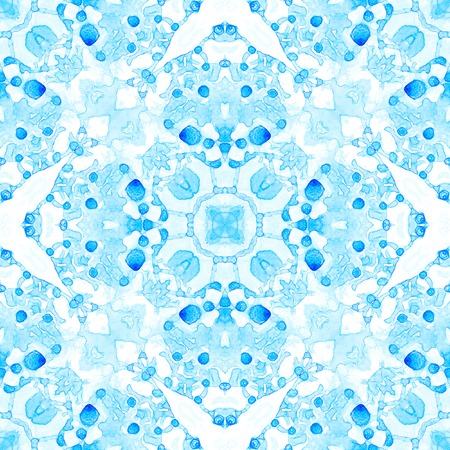 Blue seamless pattern. Appealing delicate soap bubbles. Lace hand drawn textile ornament. Kaleidoscope mandala lingerie print. Classic abstract watercolor background.