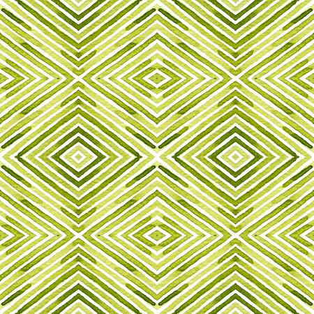 Green Geometric Watercolor. Delicate Seamless Pattern. Hand Drawn Stripes. Brush Texture. Dazzling Chevron Ornament. Fabric Cloth Swimwear Design Wallpaper Wrapping.