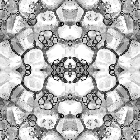 Black and white seamless pattern. Amazing delicate soap bubbles. Lace hand drawn textile ornament. Kaleidoscope mandala lingerie print. Glamorous abstract watercolor background.