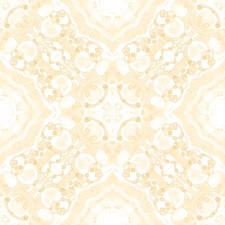 Yellow seamless pattern. Appealing delicate soap bubbles. Lace hand drawn textile ornament. Kaleidoscope mandala lingerie print. Captivating abstract  background.