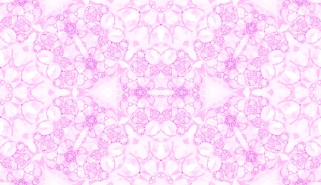 Pink seamless pattern. Astonishing delicate soap bubbles. Lace hand drawn textile ornament. Kaleidoscope mandala lingerie print. Quaint abstract  background.