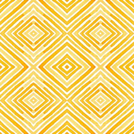 Orange Geometric Watercolor. Delicate Seamless Pattern. Hand Drawn Stripes. Brush Texture. Fine Chevron Ornament. Fabric Cloth Swimwear Design Wallpaper Wrapping.