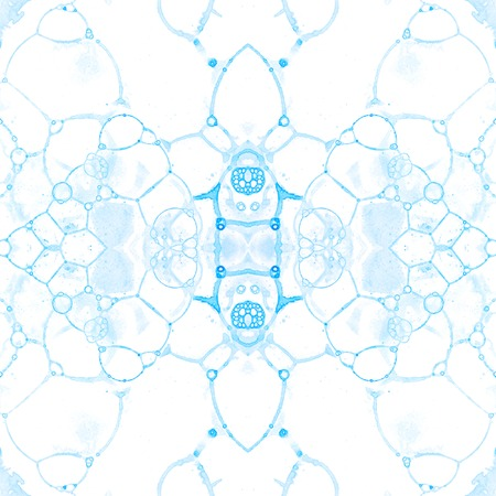 Blue seamless pattern. Amazing delicate soap bubbles. Lace hand drawn textile ornament. Kaleidoscope mandala lingerie print. Shapely abstract watercolor background.