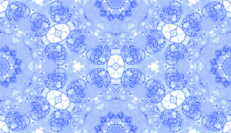 Violet seamless pattern. Attractive delicate soap bubbles. Lace hand drawn textile ornament. Kaleidoscope mandala lingerie print. Cool abstract watercolor background.