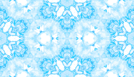Blue seamless pattern. Astonishing delicate soap bubbles. Lace hand drawn textile ornament. Kaleidoscope mandala lingerie print. Flawless abstract watercolor background.