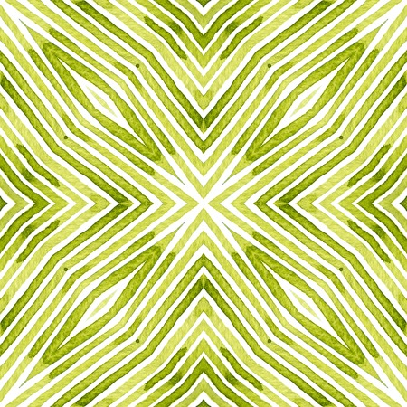 Green Geometric Watercolor. Decent Seamless Pattern. Hand Drawn Stripes. Brush Texture. Wonderful Chevron Ornament. Fabric Cloth Swimwear Design Wallpaper Wrapping.