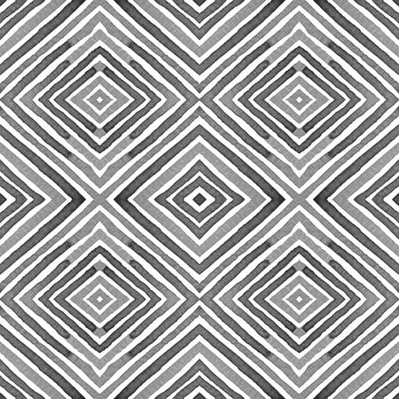 Black and white Geometric Watercolor. Creative Seamless Pattern. Hand Drawn Stripes. Brush Texture. Noteworthy Chevron Ornament. Fabric Cloth Swimwear Design Wallpaper Wrapping.