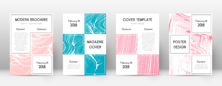 Cover page design template. Business brochure layout. Bewitching trendy abstract cover page. Pink and blue grunge texture background. Astonishing poster.