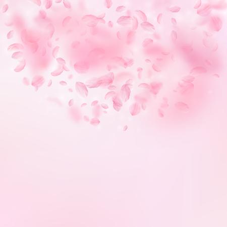 Sakura petals falling down. Romantic pink flowers semicircle. Flying petals on pink square background. Love, romance concept. Enchanting wedding invitation. Illustration