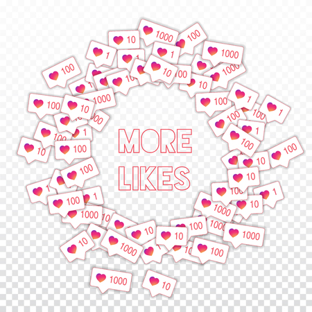 Social media icons. Social media marketing concept. Falling gradient like counter. Round scattered frame elements on transparent grid background. Illustration