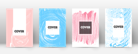 Cover page design template. Hipster brochure layout. Brilliant trendy abstract cover page. Pink and blue grunge texture background. Alluring poster.