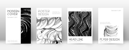 Cover page design template. Minimal brochure layout. Captivating trendy abstract cover page. Black and white grunge texture background. Rare poster.