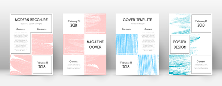 Cover page design template. Business brochure layout. Bewitching trendy abstract cover page. Pink and blue grunge texture background. Unusual poster.