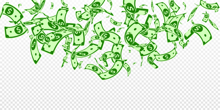 Amerikanische Dollarnoten fallen. Zufällige USD-Scheine auf transparentem Hintergrund. USA-Geld. Nette Vektorillustration. Charmantes Jackpot-, Reichtums- oder Erfolgskonzept.