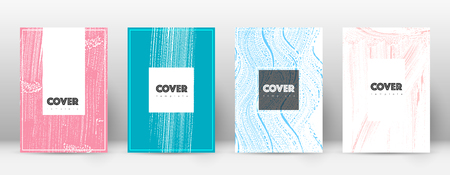 Cover page design template. Hipster brochure layout. Captivating trendy abstract cover page. Pink and blue grunge texture background. Delightful poster.