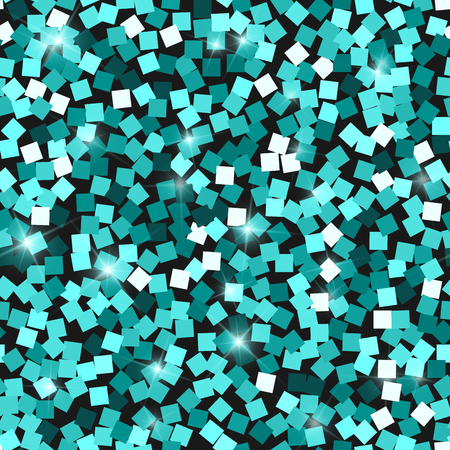 Glitter seamless texture. Adorable emerald particles. Endless pattern made of sparkling squares. Admirable abstract vector illustration. Ilustração