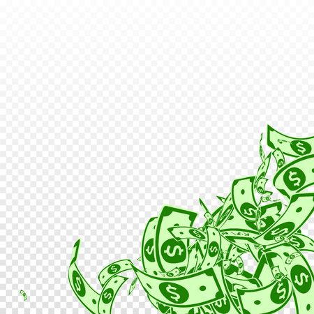 American dollar notes falling. Messy USD bills on transparent background. USA money. Comely vector illustration. Excellent jackpot, wealth or success concept.