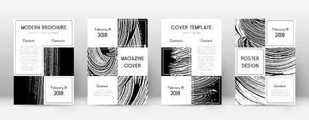 Cover page design template. Business brochure layout. Beautiful trendy abstract cover page. Black and white grunge texture background. Precious poster.