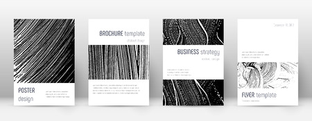 Cover page design template. Minimalistic brochure layout. Classic trendy abstract cover page. Black and white grunge texture background. Posh poster.