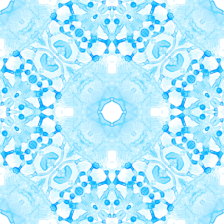 Blue seamless pattern. Amusing delicate soap bubbles. Lace hand drawn textile ornament. Kaleidoscope mandala lingerie print. Sightly abstract  background.