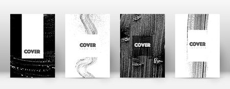 Cover page design template. Hipster brochure layout. Breathtaking trendy abstract cover page. Black and white grunge texture background. Good-looking poster.