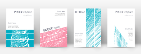 Cover page design template. Geometric brochure layout. Bold trendy abstract cover page. Pink and blue grunge texture background. Fabulous poster. 向量圖像