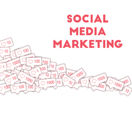 Social media icons. Social media marketing concept. Falling pink like counter. Square shape elements on white background.