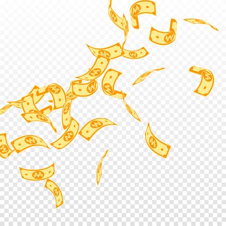 Korean won notes falling. Floating WON bills on transparent background. Korea money. Dazzling vector illustration. Precious jackpot, wealth or success concept. Illustration