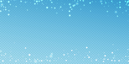 Magic stars random Christmas background. Subtle flying snow flakes and stars on blue transparent background. Authentic winter silver snowflake overlay template. Graceful vector illustration.