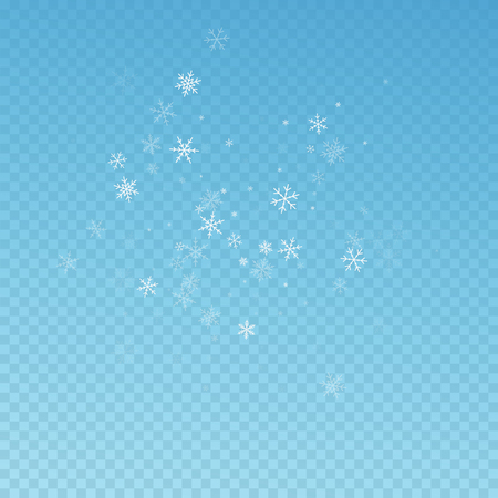 Sparse snowfall Christmas background. Subtle flying snow flakes and stars on blue transparent background. Actual winter silver snowflake overlay template. Interesting vector illustration.