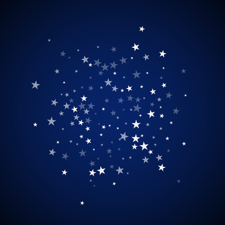 Random falling stars Christmas background. Subtle flying snow flakes and stars on dark blue night background. Bewitching winter silver snowflake overlay template. Majestic vector illustration.