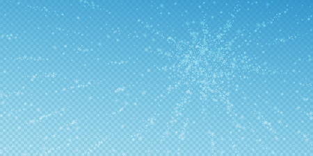 Beautiful glowing snow Christmas background. Subtle flying snow flakes and stars on blue transparent background. Astonishing winter silver snowflake overlay template. Bizarre vector illustration.