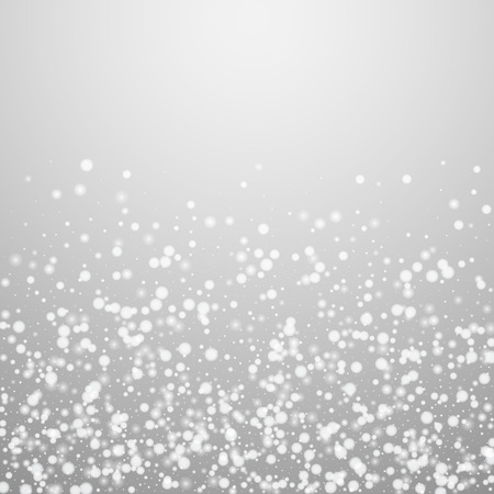 Beautiful falling snow Christmas background. Subtle flying snow flakes and stars on light grey background. Alluring winter silver snowflake overlay template. Decent vector illustration.