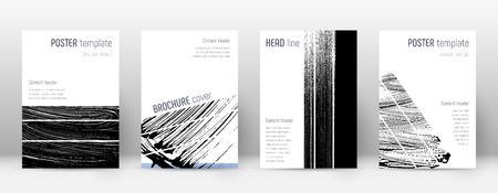 Cover page design template. Geometric brochure layout. Bizarre trendy abstract cover page. Black and white grunge texture background. Shapely poster.
